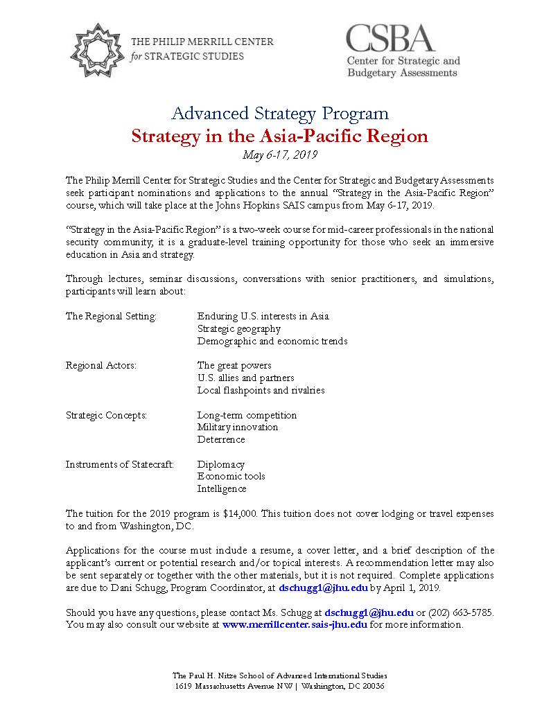 CSBA And SAIS Advanced Strategy Program Strategy In The